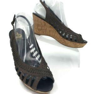 e41230667ca Crown Vintage Brown Woven Cork Wedge Sandals   8.5